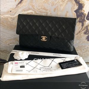 Chanel 18S Timeless Kisslock CC Black CaviarClutch